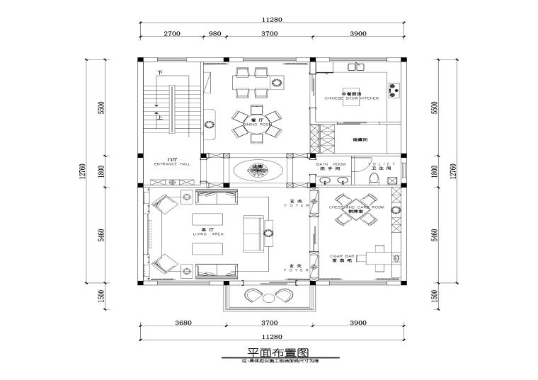 现代风格私人住宅室内装修施工图+效果图