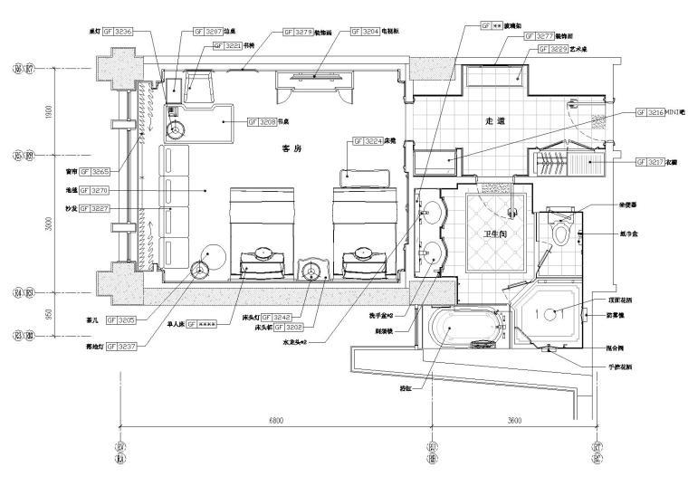 [北京]丽思卡尔顿酒店双床样板间设计施工图