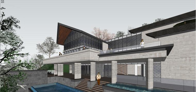 半山中式独栋别墅大宅建筑模型
