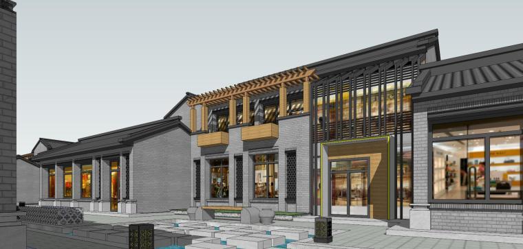 南山唐郡中式商业街建筑模型