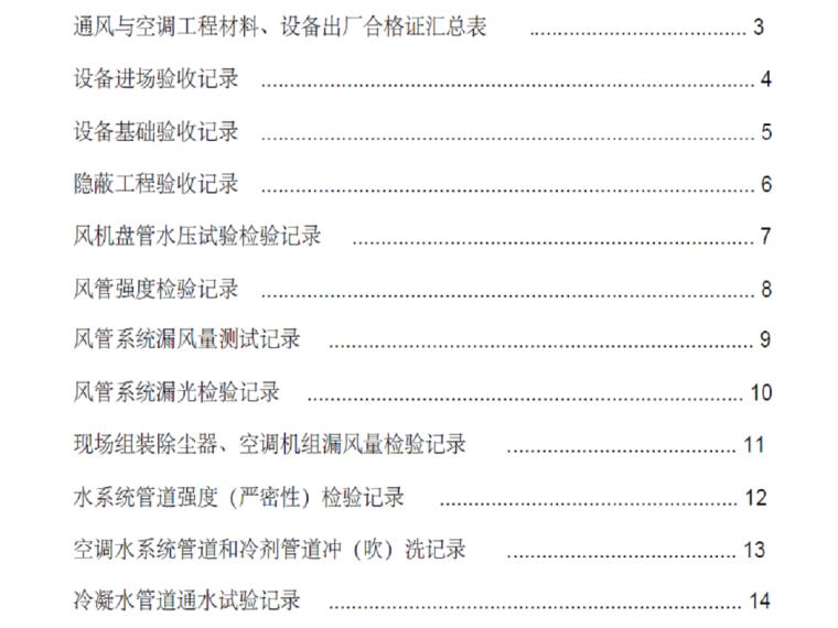 通风空调工程资料表格