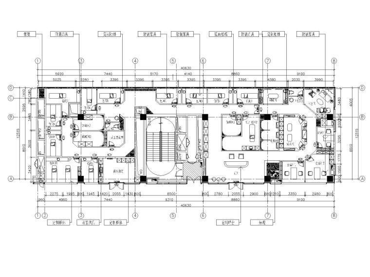 上海美容养生会所室内装修施工图+效果图