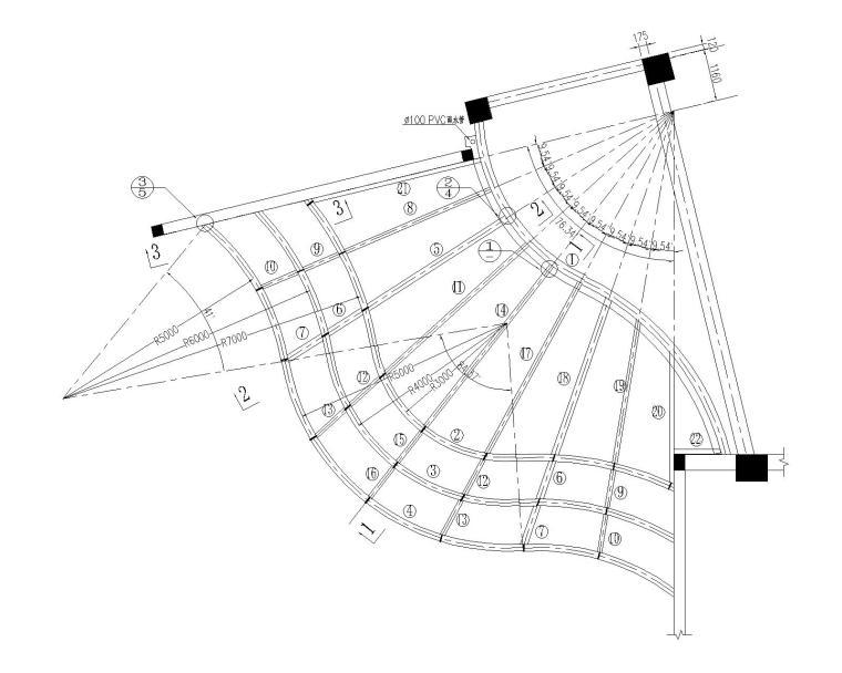 某曲面扇形钢结构悬挑雨棚施工图(CAD)