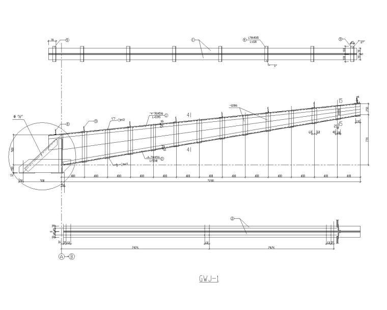 某公建室外钢结构雨棚施工图(CAD)