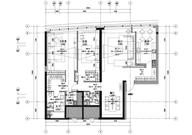 [山东]-青岛世纪名人广场A2样板房施工图