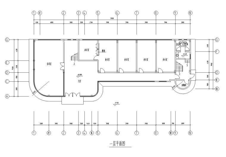 8层简单小型办公楼建筑平面图