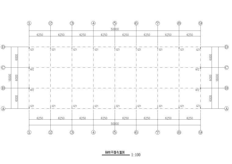 18米单跨门式刚架厂房结构施工图纸