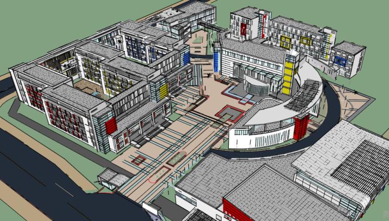某中学建筑详细规划设计精细模型