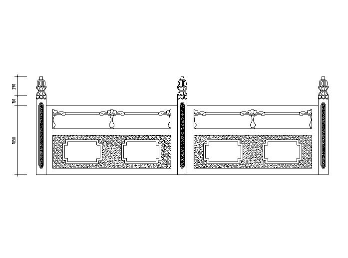 汉白玉栏杆立面详图(CAD)