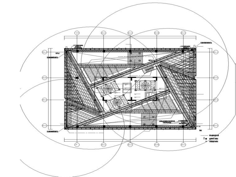 办公楼屋顶层避雷针及航空障碍灯平面图