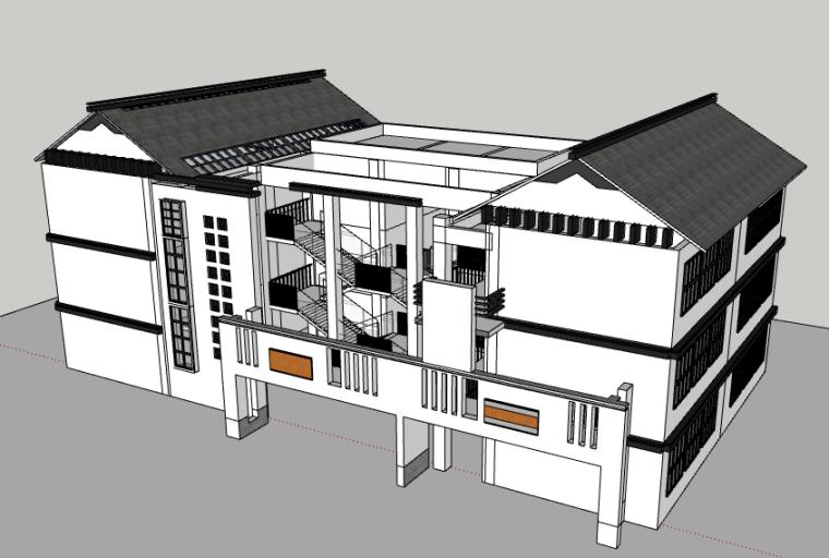 乡镇12班教学楼SU模型