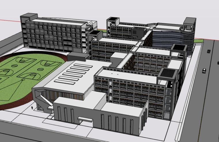 外国语小学设计建筑SU模型