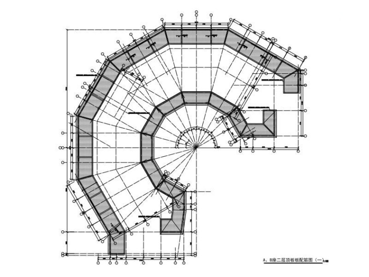 A、B座二层顶板板配筋图