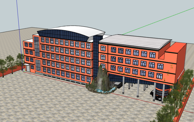 邯郸市实验小学教学楼建筑方案SU模型