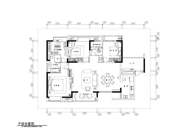 欧式风格三居室住宅装修施工图+效果图