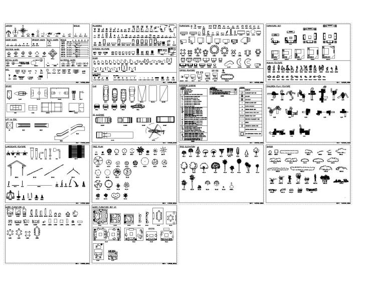 室内装修常用CAD图块大全(含园林图块)
