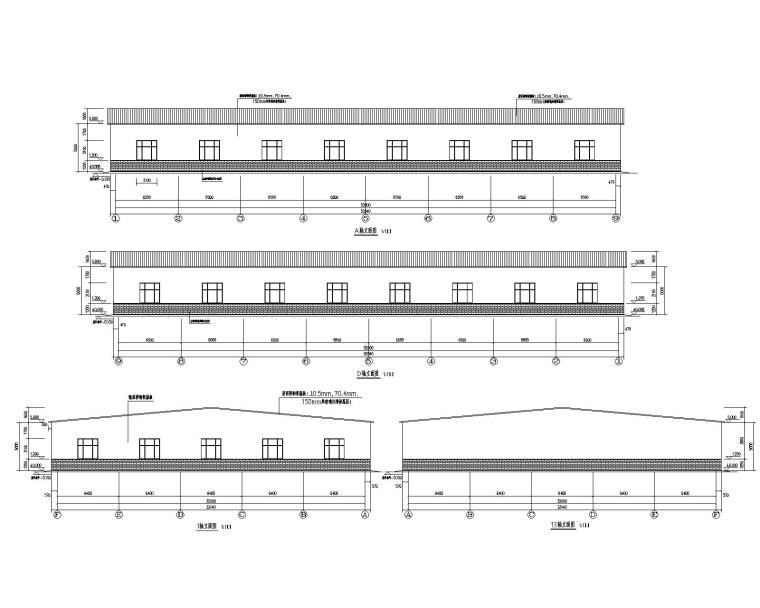 32米单跨钢结构门式刚架库房施工图(CAD)