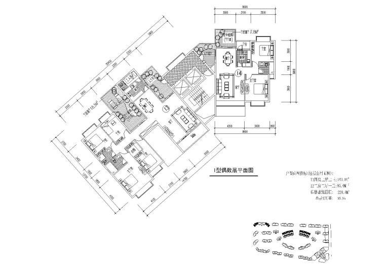 四房二厅二卫、二房二厅一卫户型平面图