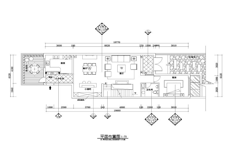 三居室欧式风格私人住宅室内装修施工图