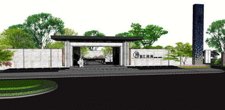 [广西]金科江湖海新中式示范区SU模型+CAD