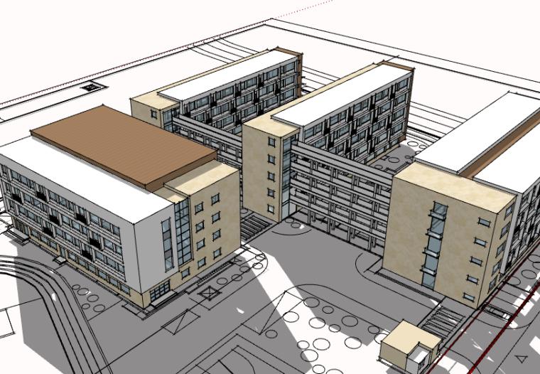 三十班小学建筑设计方案SU模型