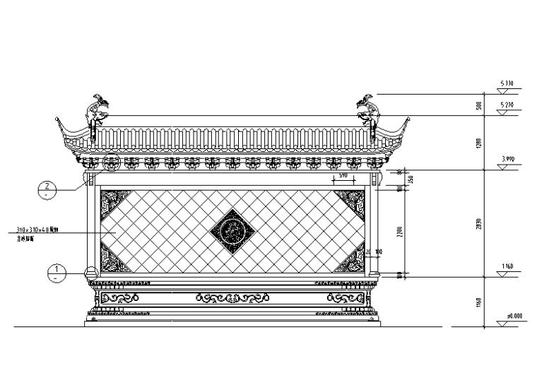 照壁设计建筑施工图(CAD)