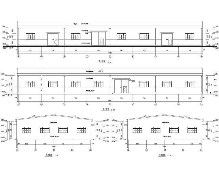 24米单跨钢结构门式刚架库房施工图(CAD)