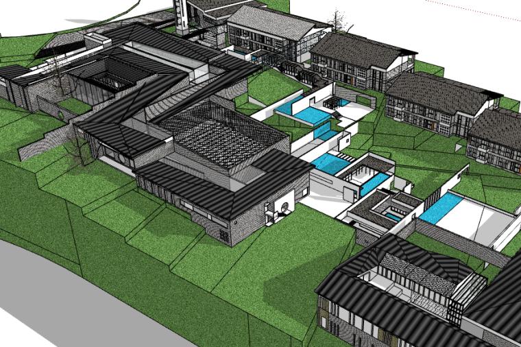 中式科研园区建筑设计SU模型