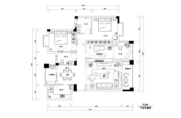 两居室私人住宅装修施工图+效果图