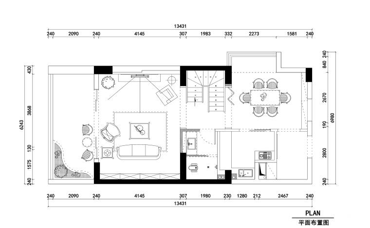 两层美式私人住宅室内装修施工图+效果图