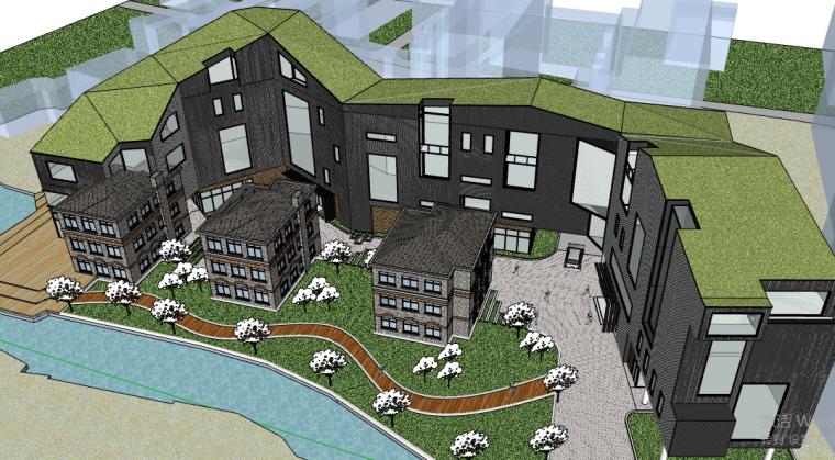 艺术学校概念设计建筑方案SU模型