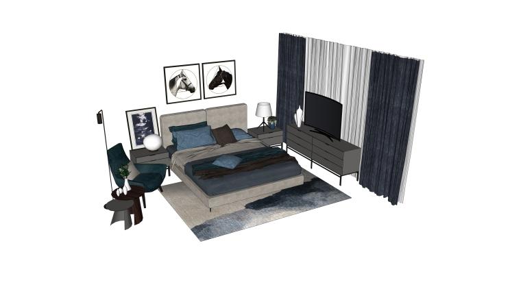 室内装饰常用床具SU模型设计(1)