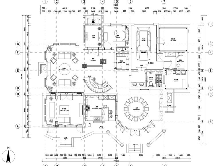 两层美式风格别墅室内装修施工图+效果图