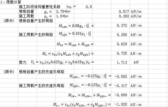 钢筋桁架叠合板计算书excel(连续梁)-钢筋桁架叠合板计算书_荷载计算