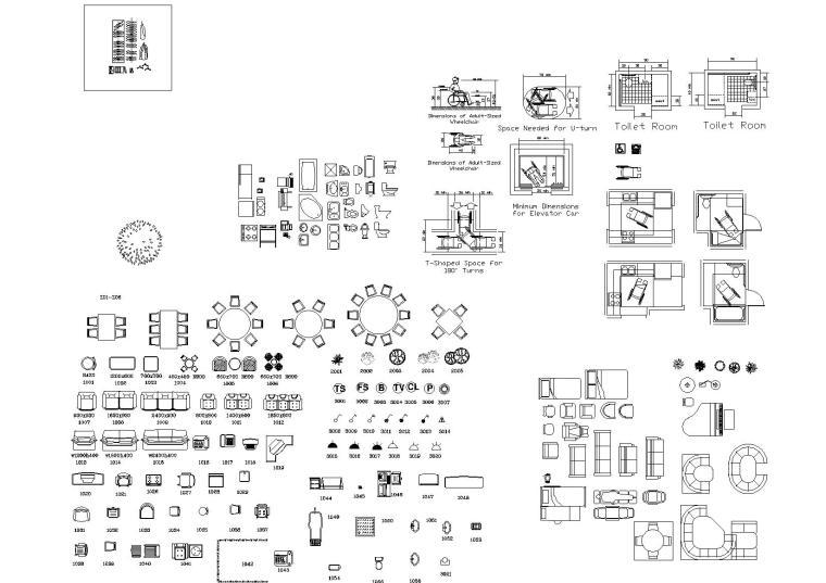室内,室外,植物CAD图块合集-CAD室内图库