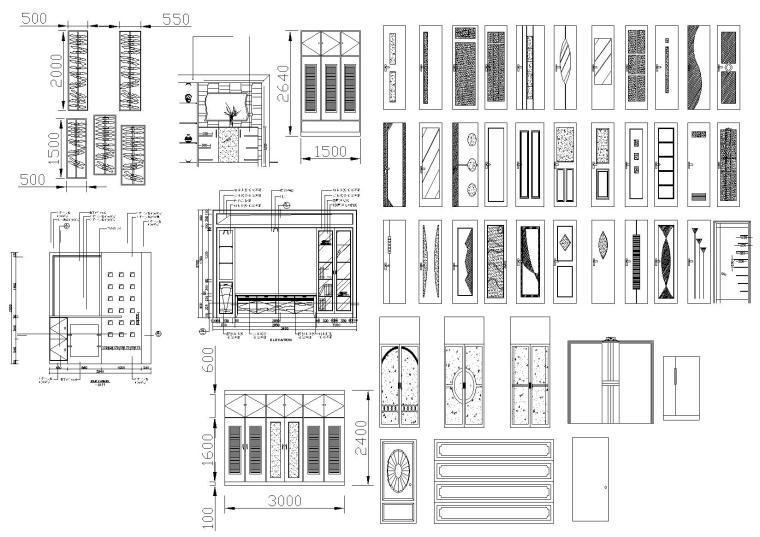 室内,室外,植物CAD图块合集-门图块