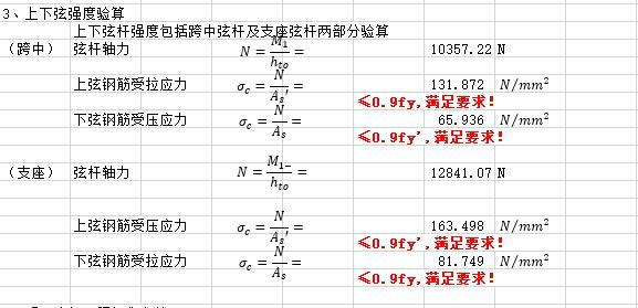 钢筋桁架叠合板计算书excel(连续梁)-钢筋桁架叠合板计算书_上下弦强度验算