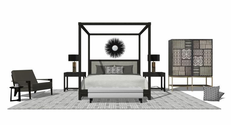 室内装饰常用床具SU模型设计(4)