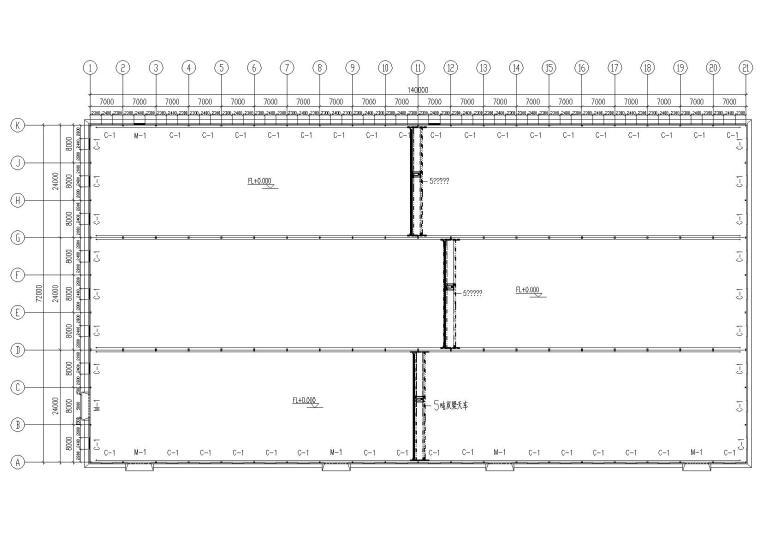 单层钢混柱轻钢屋面结构仓库结构施工图纸