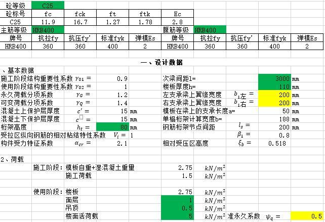 钢筋桁架叠合板计算书excel(简支)