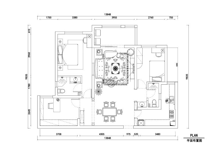 橡树湾两居室住宅装修施工图+效果图