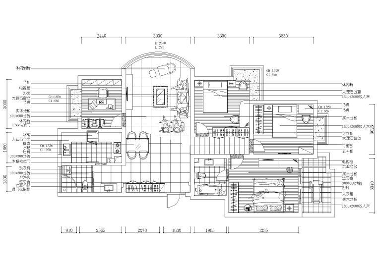 现代风格三室二厅装修工程施工图+效果图