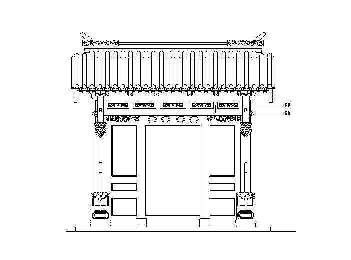 中式古典大门大样图_CAD
