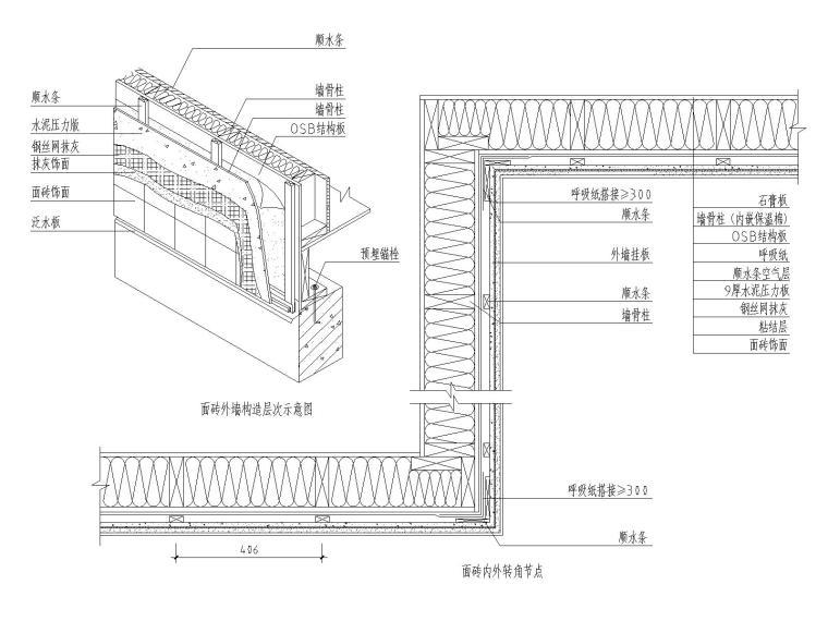 轻型木结构面砖饰面外墙