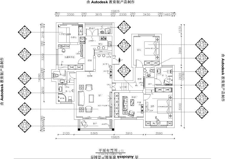 铭筑设计-贵州兴义户型施工图+效果图