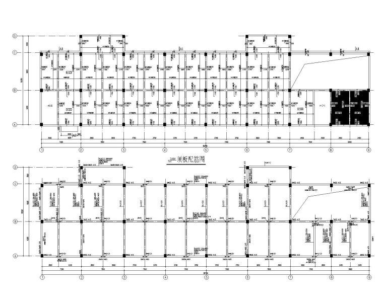 某5层混凝土斜屋面结构办公楼施工图(CAD)