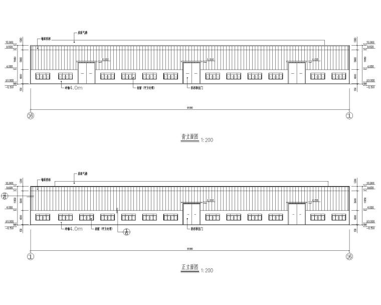 双跨45米钢结构库房施工图(CAD含建筑图)