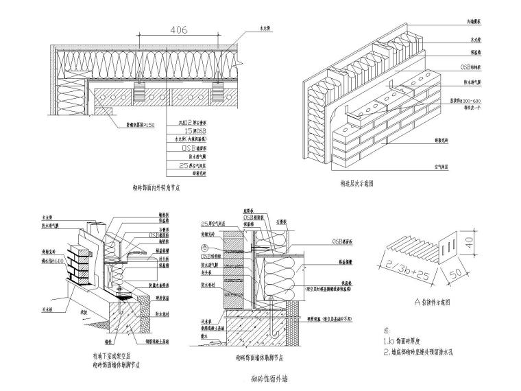 轻型木结构砌砖饰面外墙