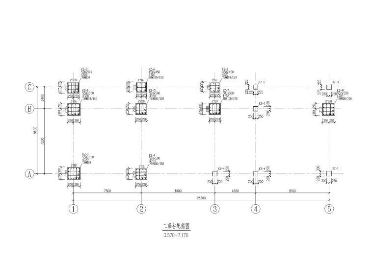 某小学三层框架结构综合楼结构施工图纸