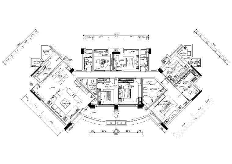 [古臣设计]-250平大面积平层施工图+效果图